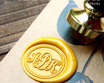 1pcs Personalized Initial Alphabet Gold Plated Wax Seal Stamp (WS060) / Custom Monogram Calligraphy Wedding Invitation Sealing Wax Stamp