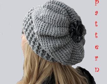 Crochet Pattern Crochet Slouch Hat, Crochet French Beret Pattern,Crochet Slouchy Beanie Pattern, Instant Download PDF
