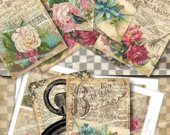 FLORAL ACEO cards, Gift Cards, Digital Collage Sheet paper printable, ATC Printable Cards Trade Cards, Gift Tag -Instant Download