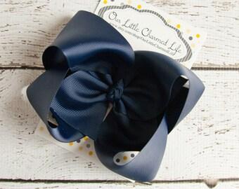 Navy XL Hair Bow, Blue Hair Bow, Navy Blue Hairbow, Extra Large Blue Hair Bow, Blue Boutique Hair Bow, Blue Hair Clip, Navy Blue Hair Bow