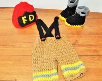 baby firefighter fireman newborn photo prop, newborn fireman outfit, fireman Halloween costume, baby fireman boots, fireman hat/pants, sett