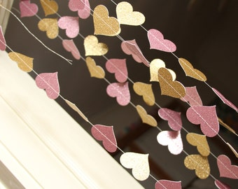 Pink and gold glitter paper heart garland wedding party for Arland decoration
