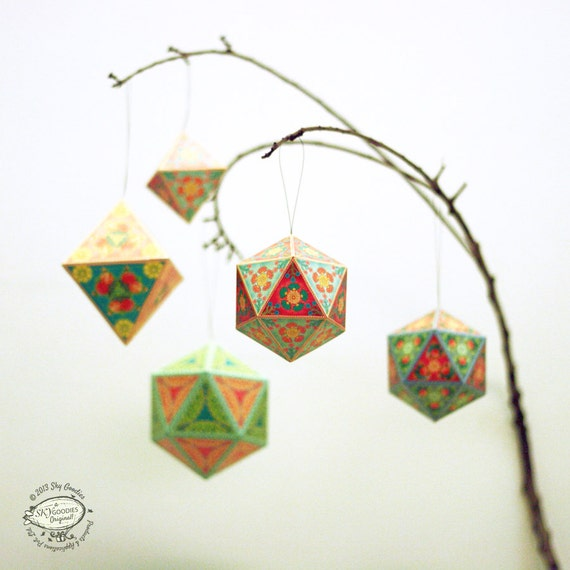 Diy Christmas Ornaments Etsy : Christmas ornaments diy paper decorations set of by