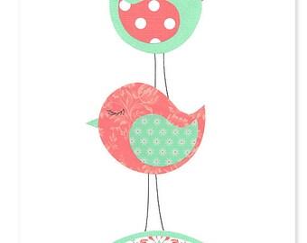 Bird Nursery Art, Nursery Wall Art, Girl's Room Decor, Bird Toddler Decor, Baby Art Print, Art For Children, Baby Shower Gift, Bird Canvas
