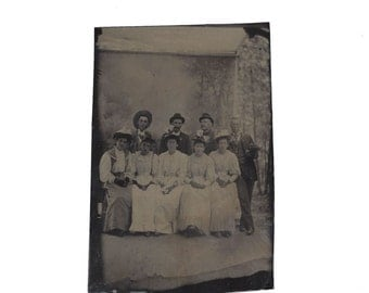 Tintype Photograph - Group Photo - Ladies and Gentlemen - Studio Background