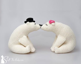 Kissing Bears Amigurumi Pattern, wedding crochet pattern, home decor, bridal shower, diy gifts, polar bears, white bears, valentines day