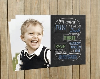 Vintage Chalkboard Three Third Birthday Invitation, Blue and Green, Printable, Custom Digital File