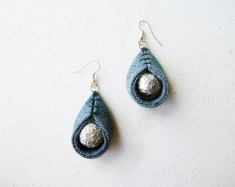 Eco Water Drop Earrings Denim and Silver Foil Bead - Upcycled Jewelry - Full Moon OOAK by upmade