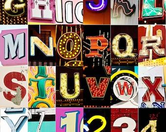 Las Vegas, Nevada, Sin City, Alphabet Collage, Vintage Style Art, Photographic Print,  Kristine Cramer Photography