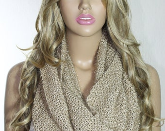 Hand Knitted Camel Sparkly Infinity Scarf Valentine's Day Gift For Her Neck Warmer - ESCHERPE
