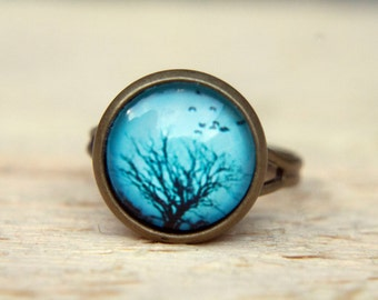 Tree Ring. Blue Ring. Winter Tree,  Adjustable Ring. Tree Jewellery. Picture Ring,  Glass Dome  Ring.  Statement Ring.  Illustration Jewelry