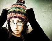 Bohemian multicolor hat, warm hand crocheted woolen hat with a pig pom pom - CrazyFoxDesign
