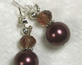 """Cynthia Lynn """"DRESSED UP"""" Cranberry Wine Colored Glass Crystal Pearl Earrings 1 inch"""