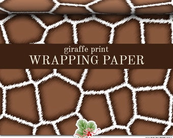Giraffe Print Wrapping Paper | Custom Brown And White Giraffe Print Gift Wrap Paper  Roll 9 feet or 18 feet  Great For Any Occasion.