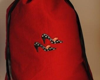 Nadine red and black polka dot shoe bag