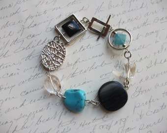 Modern black and turquoise bracelet