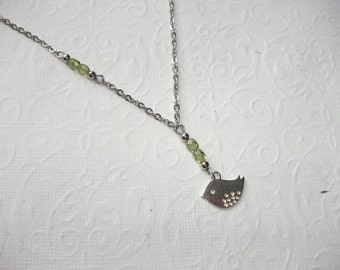 Silver bird lariat necklace