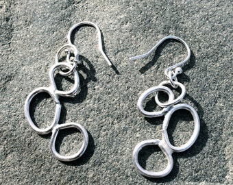 "Solid Silver Drop Earrings ""Pebbles"""