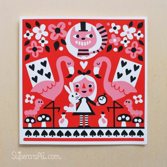 Alice - A hand pulled screen printed greetings card