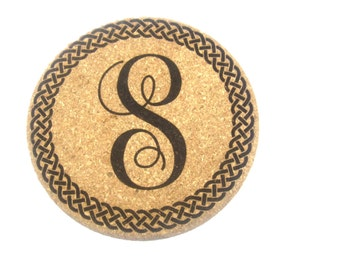 Custom Cork Coaster, Coaster, Personalized Coaster, Script Coaster, Wine Cork Coaster, Gift, Set of 1