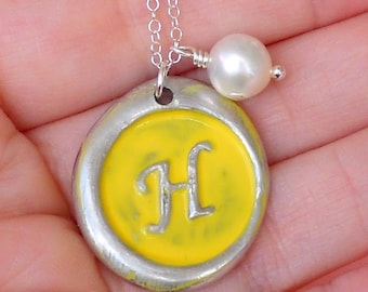 Hand Painted Wax Seal Initial Necklace