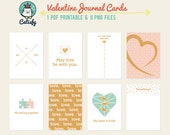 Valentine Project Life Cards, Love Journal Cards, Project Life Digital, Valentine's Day Pocket Scrapbooking Card, Digital Printable PL Cards