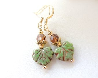 Czech Glass Leaf Earrings, Fall Fashion Accessories, Fall Leaf Earrings, Autumn Jewelry, Seasonal Jewelry, Dangle Earrings, Gift Idea.  #212