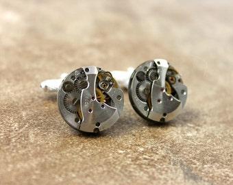 Anniversary Gifts for Men / Watch Movement Cuff Links / Father's Day Gift / Groomsmen Gift / Best Man Gift / Steampunk Cuff Links