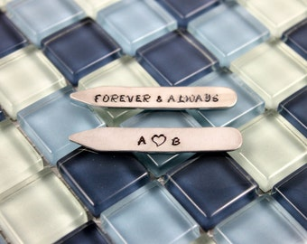 Anniversary Gifts for Men / Personalized Collar Stays / Forever & Always / Custom Collar Stays / Husband Birthday Gift / Father's Day Gift /