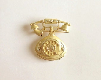 Gold Vintage Telephone Brooch