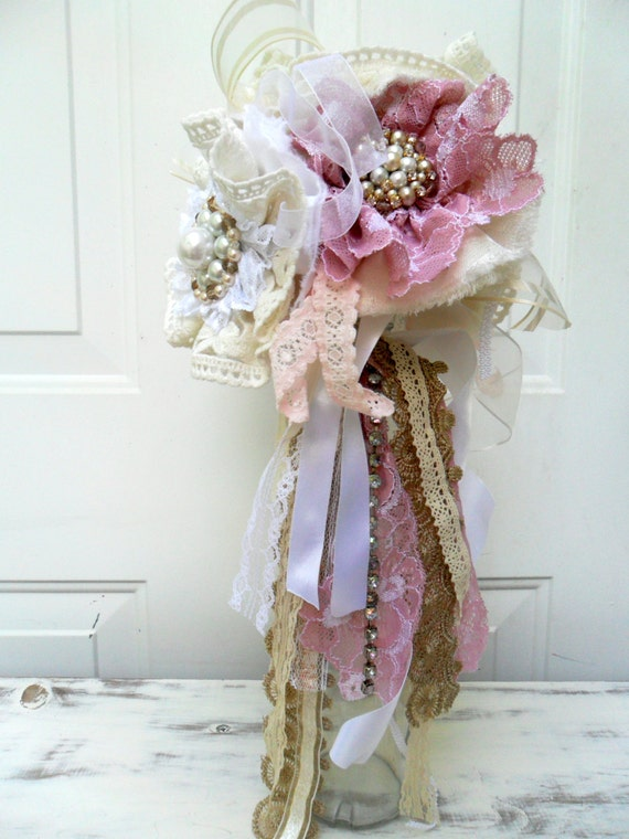How Long Should Bridal Bouquet Stems Be : Fabric flower bouquet long stem by downsouthchicdecor
