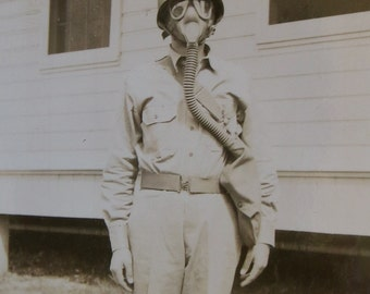 1940's World War II US American Soldier Ready for Battle Snapshot Photograph - Free Shipping