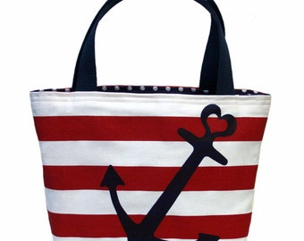 Heart Anchor Tote (Navy on Red)
