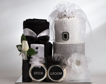 Towel Cake - Bride and Groom Towel Cake - Bridal Shower Centerpiece - Bridal Shower Gift - Wedding Gift