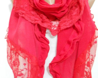 Christmas Red Scarf Shawl Cowl Scarf with Laced Red Wedding Scarf with Tulle Women Fashion Accessories LOVE Gift Ideas For Her SCARFCLUB