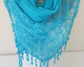 Blue Tulle Scarf Shawl Cotton Scarf Cowl Scarf with Lace Edge Oversize Scarf New Year Gift Ideas For Her Women Holiday Fashion Accessoies