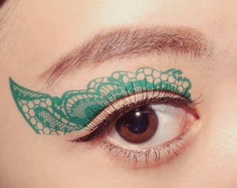 Temporary Tattoo Eye Makeup  Eyeshadow applique Turquoise Lace festival halloween makeup costume accessories Masquerade Mask