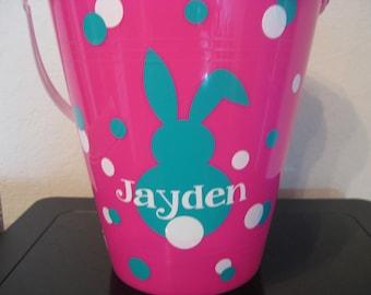 Easter Basket Decal - Monogram Easter Decal - Easter Basket Monogram Decal - Easter Basket Sticker - Bunny Decal - Kids Easter -  DIY Decal
