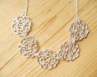 Silver Flower bib necklace, Silver flower Filigree statement necklace