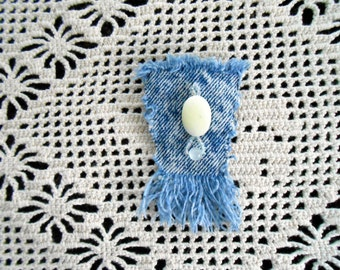 Recycled denim brooch w/ shell stone, glass seed and round glass bead, denim lapel pin jewelry upcycled elegant hat pin