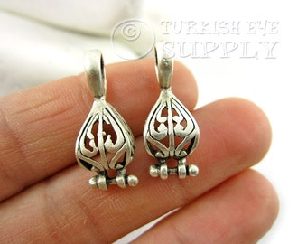 2 pc Earring Companent Pendants, Silver Earring Findings, Earring Connectors, Antique Silver Plated Brass Earrings, Turkish Jewelry