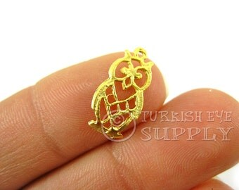 10 pc Mini Gold Owl Charms, 22K Gold Plated Turkish Jewelry, Turkish Findings