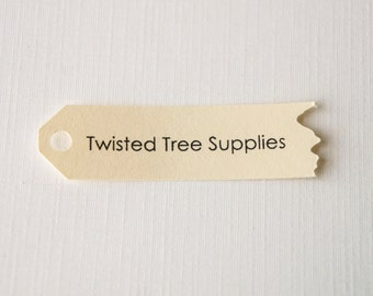 Custom Torn Shop Tags -Shop Name or Logo - Many colors available- 60 tags