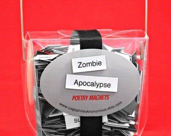 Zombie Apocalypse Poetry Magnet Set - Refrigerator Word Poetry Magnets - Free Gift Wrap