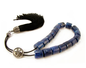 Greek Komboloi, Worry Beads, Blue Mosaic Acrylic Beads 12mm, Metal Master Bead & Tassel