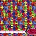 AUTISM AWARENESS Fabric by the Yard Half Yard or Fat Quarter BRIGHT Puzzle Piece Fabric For Apparel 100% Cotton Quilting Fabric t2-21