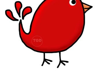 Preppy Cute Red Bird - Original art download, bird clip art, bird printable, bird graphic