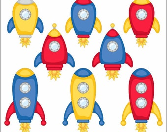 Cute Spaceships Clip Art, Rocket Clipart, Vehicle, Outer Space Illustration - YDC044