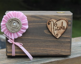 Bridesmaid Gift ONE Rustic Wood Box With Attached Heart With The Name Of Your Bridesmaid Wood Burned On & Felt Lined Bottom- FREE Shipping