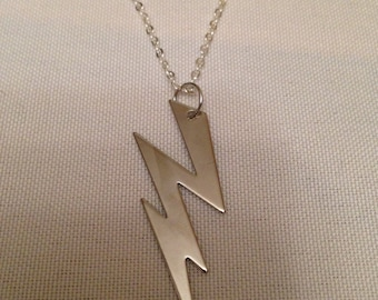 silver lightning bolt necklace, lightning bolt necklace, lightning bolt jewelry, silver necklace, lightning bolt, lightning, necklace
